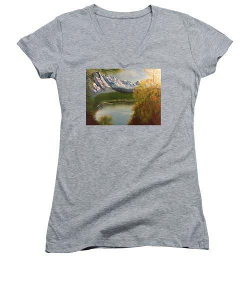 Peek-a-boo Mountain Women's V-Neck T-Shirt (Junior Cut) by Thomas Janos
