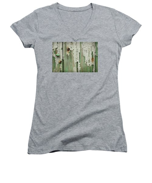 Women's V-Neck T-Shirt (Junior Cut) featuring the photograph Peeling 3 by Mike Eingle