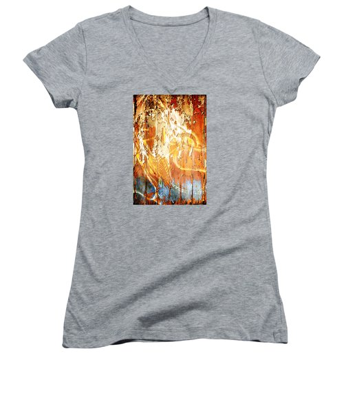 Women's V-Neck T-Shirt (Junior Cut) featuring the digital art Peeling Wall Portrait by Andrea Barbieri