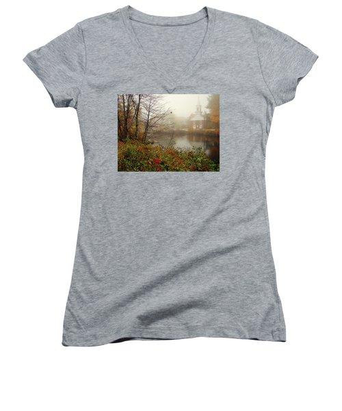 Foggy Glimpse Women's V-Neck T-Shirt (Junior Cut) by Betsy Zimmerli