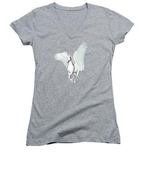 Women's V-Neck featuring the painting Pegasus   by Valerie Anne Kelly