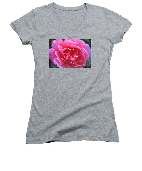 Women's V-Neck T-Shirt (Junior Cut) featuring the photograph Peggy Lee Rose Bridal Pink by David Zanzinger