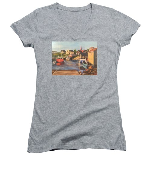 Peggy 's Cove, Halifax Nova Scotia, Canada  Women's V-Neck (Athletic Fit)
