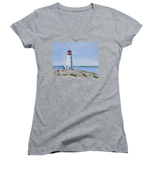 Peggy's Point Lighthouse Women's V-Neck T-Shirt (Junior Cut) by Mike Robles