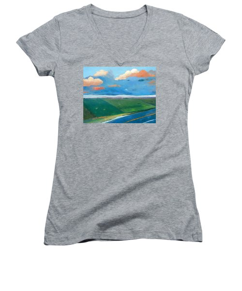 Women's V-Neck T-Shirt (Junior Cut) featuring the painting Peggy's Road by Gary Coleman