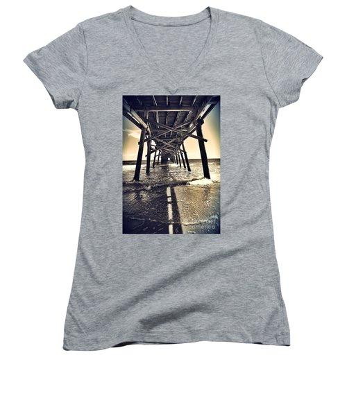 Peir View  Women's V-Neck T-Shirt (Junior Cut) by Christy Ricafrente
