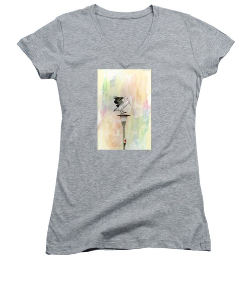 Women's V-Neck T-Shirt (Junior Cut) featuring the photograph Pelican Beauty 000004 by Kevin Chippindall