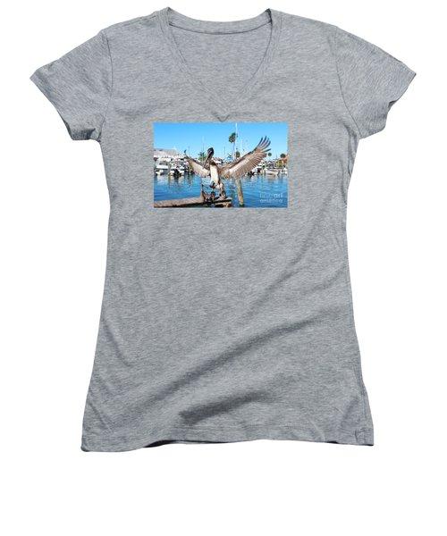 Pelican Flying In Women's V-Neck T-Shirt (Junior Cut) by Megan Dirsa-DuBois