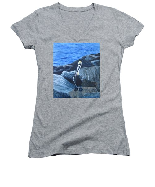 Pelican On The Rocks Women's V-Neck (Athletic Fit)