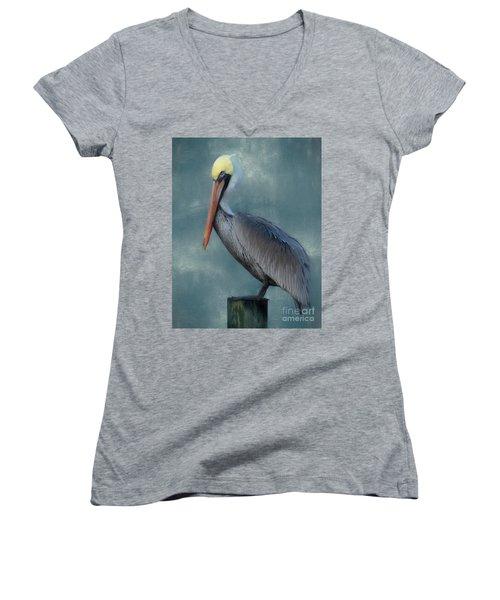 Women's V-Neck T-Shirt (Junior Cut) featuring the photograph Pelican Portrait by Benanne Stiens