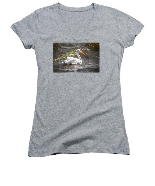 Pelican Profile Women's V-Neck T-Shirt (Junior Cut) by Ray Congrove