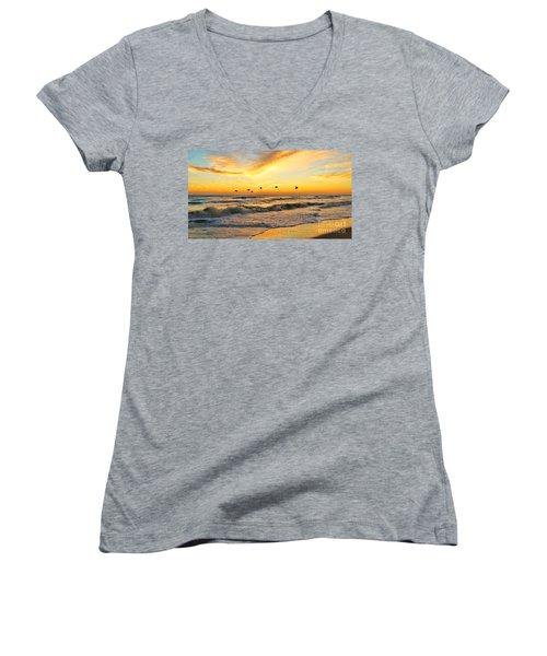Pelicans At Sunrise  Signed 4651b 2  Women's V-Neck T-Shirt