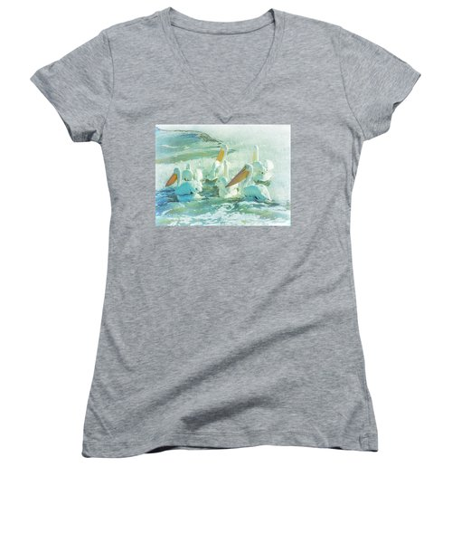 Pelicans On The Tide Women's V-Neck (Athletic Fit)
