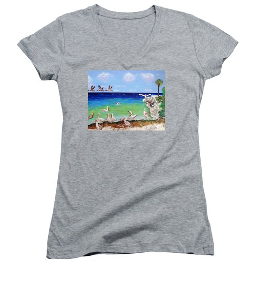 Women's V-Neck T-Shirt (Junior Cut) featuring the painting Pelicans by Vicky Tarcau