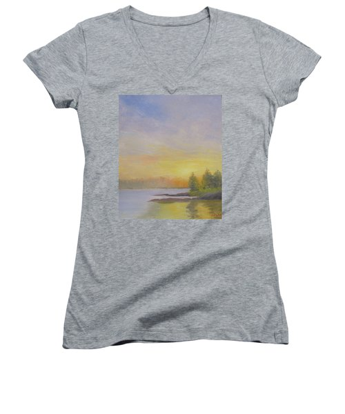 Pemaquid Beach Sunset Women's V-Neck (Athletic Fit)