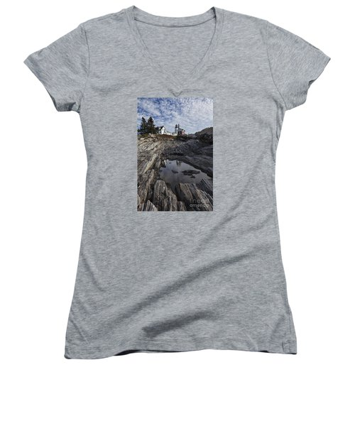 Pemaquid Lighthouse Women's V-Neck (Athletic Fit)
