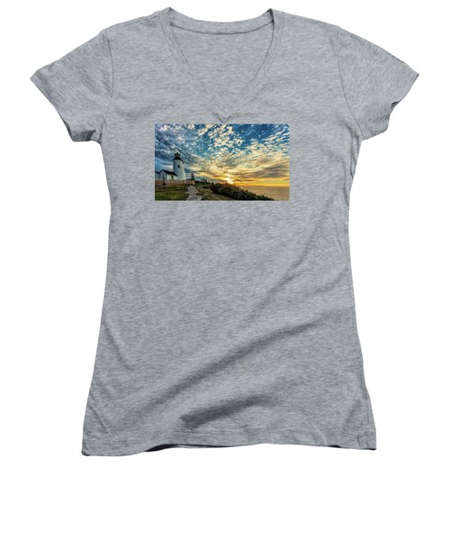 Pemaquid Point Lighthouse At Daybreak Women's V-Neck (Athletic Fit)