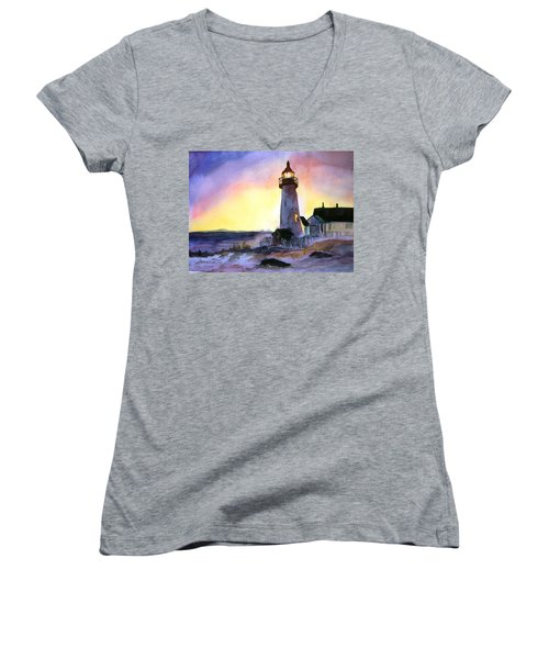 Pemaquid Point Lighthouse Maine Women's V-Neck