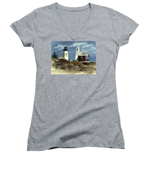 Pemaquid Point Lighthouse  Women's V-Neck (Athletic Fit)