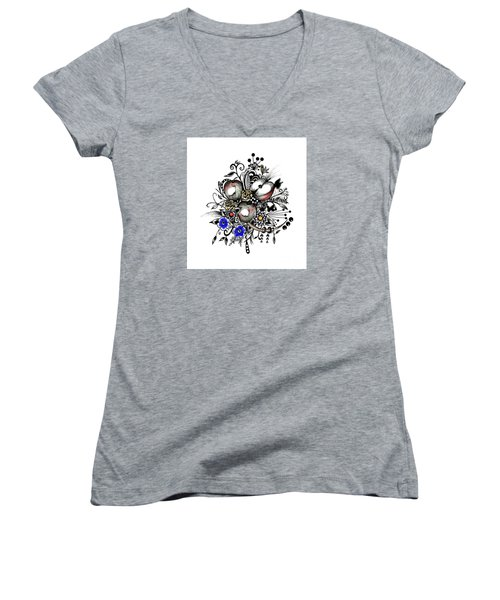 Pen And Ink Drawing Apples Wall Decor  Women's V-Neck T-Shirt (Junior Cut) by Saribelle Rodriguez