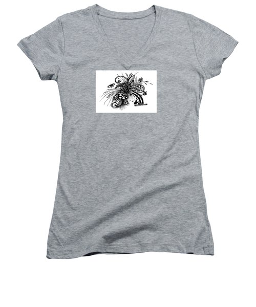 Pen And Ink Drawing Rose Women's V-Neck T-Shirt (Junior Cut) by Saribelle Rodriguez