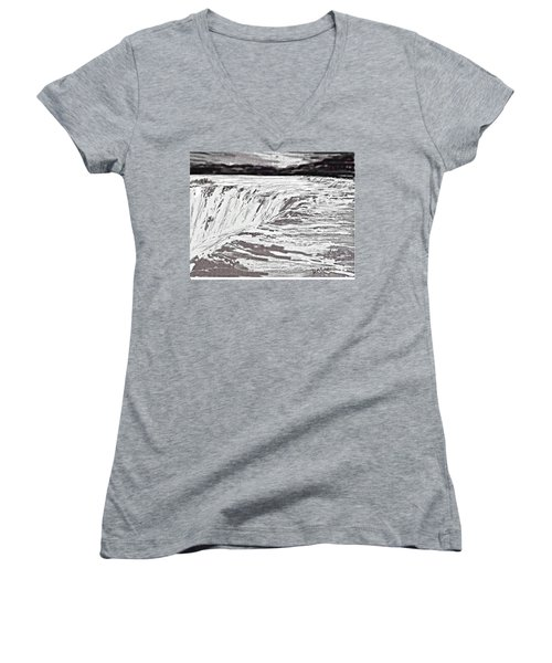 Women's V-Neck T-Shirt (Junior Cut) featuring the drawing Pencil Falls by Desline Vitto