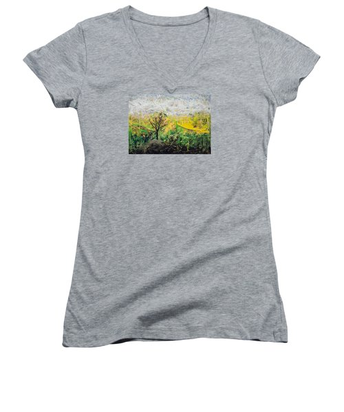 Women's V-Neck T-Shirt (Junior Cut) featuring the painting Peneplain by Ron Richard Baviello
