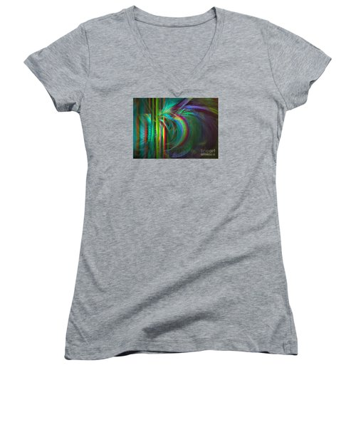 Women's V-Neck T-Shirt (Junior Cut) featuring the digital art Penetrated By Life - Abstract Art by Sipo Liimatainen