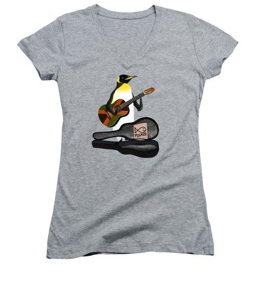 Penguin Busker Women's V-Neck T-Shirt (Junior Cut) by Early Kirky