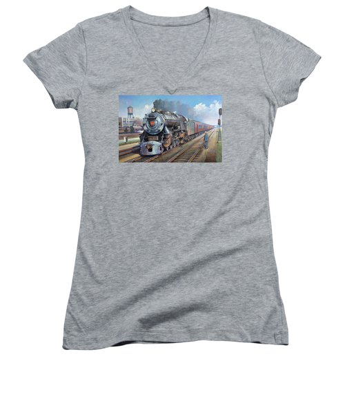 Penn Central Pacific. Women's V-Neck T-Shirt (Junior Cut) by Mike Jeffries