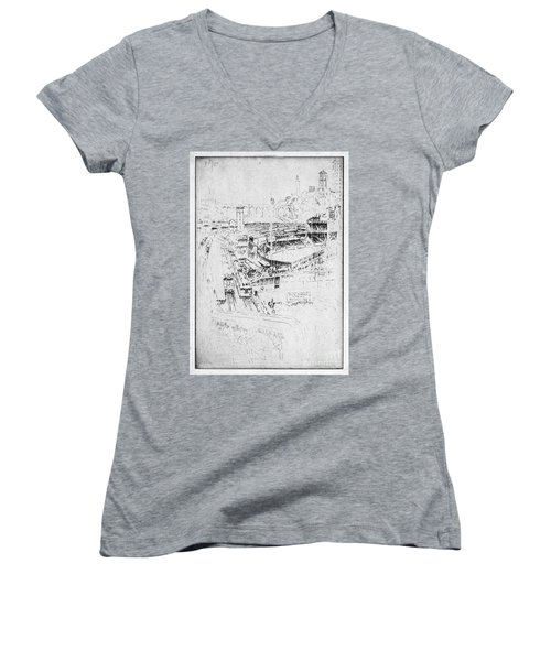 Women's V-Neck T-Shirt (Junior Cut) featuring the drawing Pennell Polo Grounds 1921 by Granger