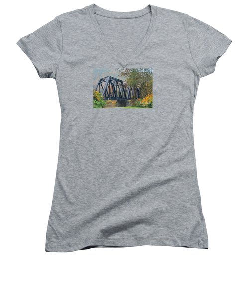 Pennsylvania Bridge Women's V-Neck T-Shirt (Junior Cut) by Cindy Manero