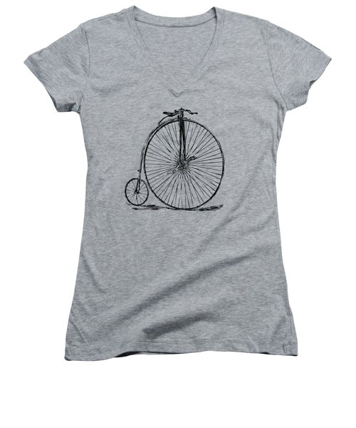 Penny-farthing 1867 High Wheeler Bicycle Vintage Women's V-Neck T-Shirt (Junior Cut) by Nikki Marie Smith