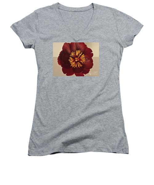 Penny Peony Women's V-Neck T-Shirt (Junior Cut) by Marsha Heiken