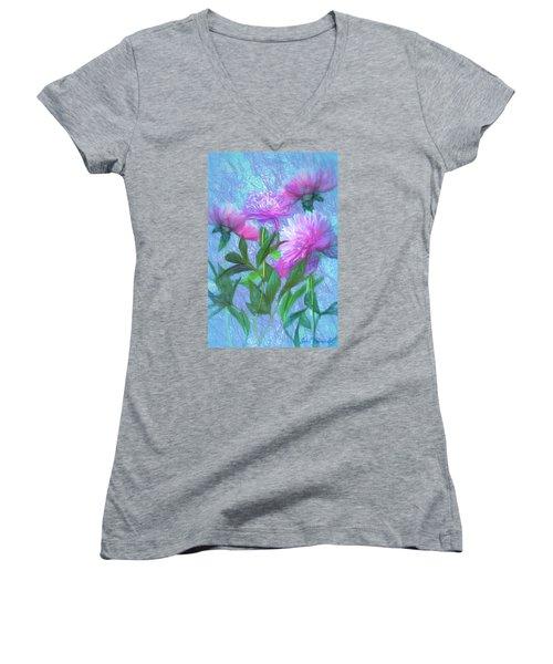 Peonies #3 Women's V-Neck T-Shirt (Junior Cut) by John Selmer Sr
