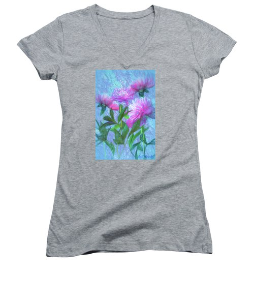 Peonies #3 Women's V-Neck (Athletic Fit)