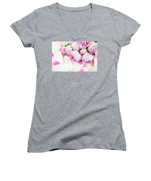 Peonies And Wedding Dress Women's V-Neck T-Shirt (Junior Cut) by Anastasy Yarmolovich