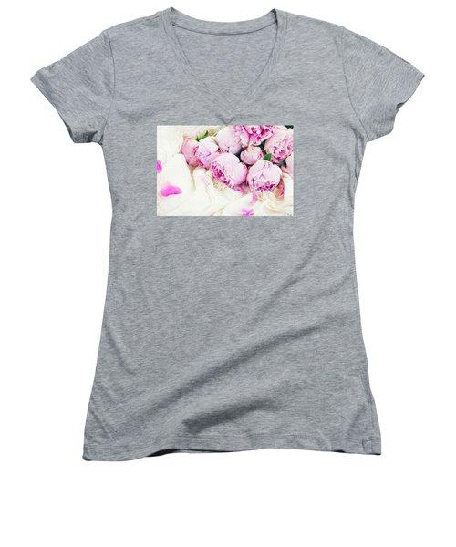 Peonies And Wedding Dress Women's V-Neck T-Shirt
