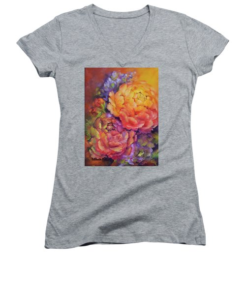 Peonies At Sunset Women's V-Neck (Athletic Fit)