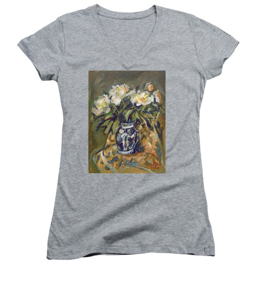 Peonies In Delft Blue Vase On Quilt Women's V-Neck (Athletic Fit)