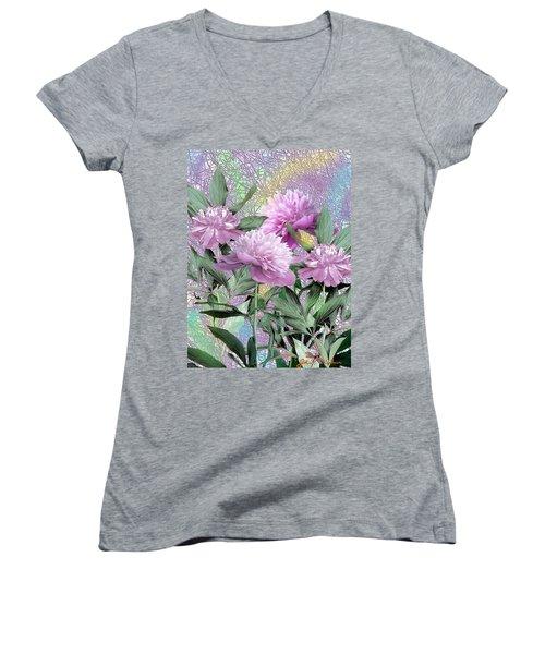 Peonies Women's V-Neck T-Shirt (Junior Cut) by John Selmer Sr
