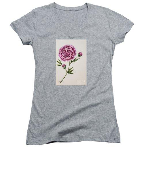 Peony Botanical Women's V-Neck T-Shirt (Junior Cut) by Elizabeth Robinette Tyndall