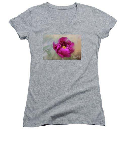 Peony Women's V-Neck T-Shirt (Junior Cut) by Eva Lechner