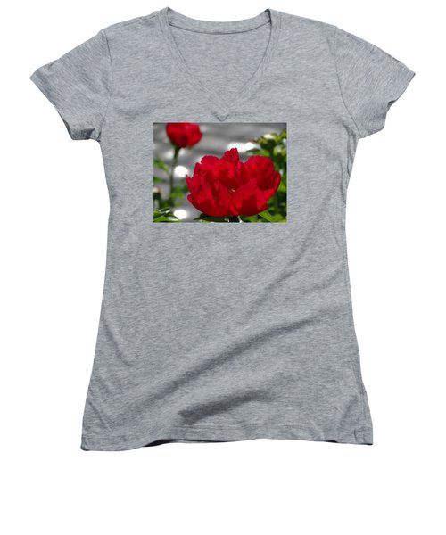 Peony In Red Women's V-Neck T-Shirt (Junior Cut) by Rebecca Overton