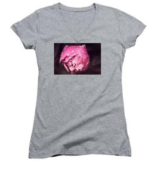 Peony In The Rain Women's V-Neck T-Shirt