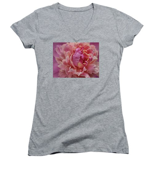 Peony Opening Women's V-Neck T-Shirt (Junior Cut) by Sandy Keeton
