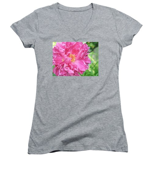 Women's V-Neck featuring the photograph Peony Perfection by Lynda Lehmann