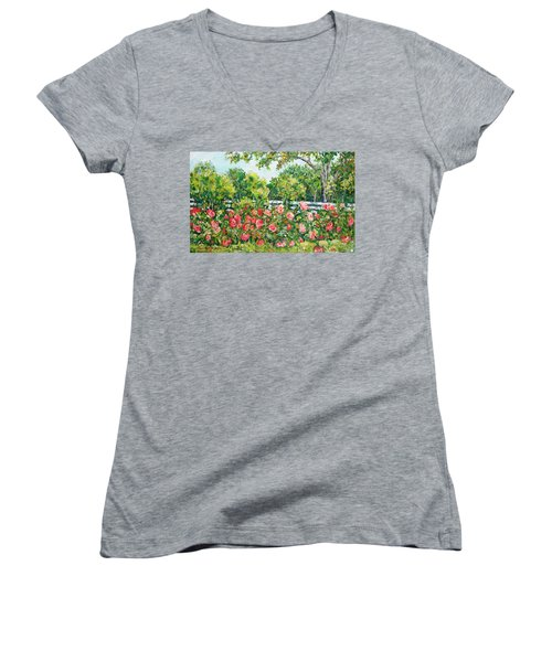 Peony Riot Women's V-Neck (Athletic Fit)