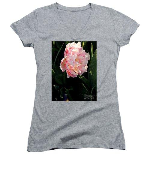 Peony Tulip Women's V-Neck T-Shirt (Junior Cut) by Nancy Kane Chapman