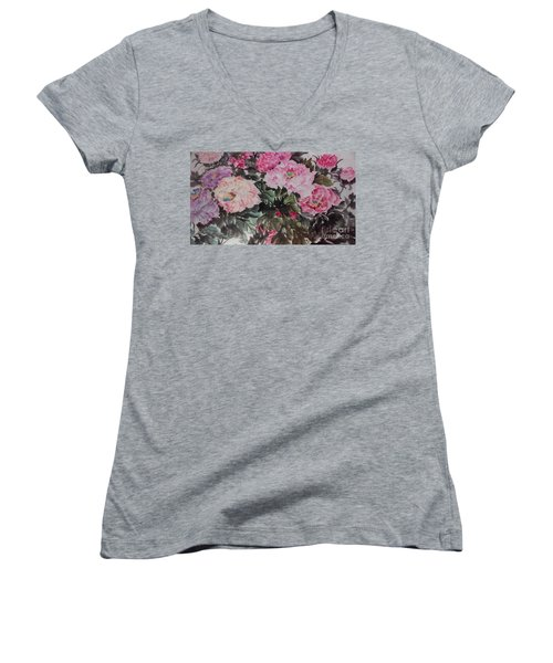 Women's V-Neck T-Shirt (Junior Cut) featuring the painting Peony20170126_2 by Dongling Sun